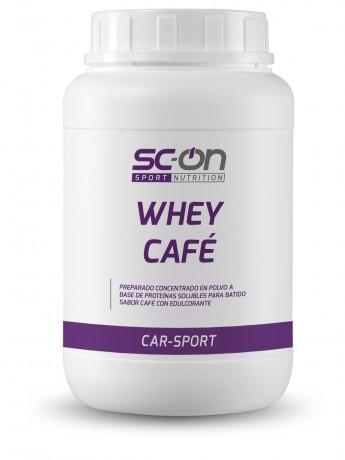 Producto alimenticio en polvo para preparar una bebida aromatizada a base de proteínas solubles con edulcorante. Sabor café.
