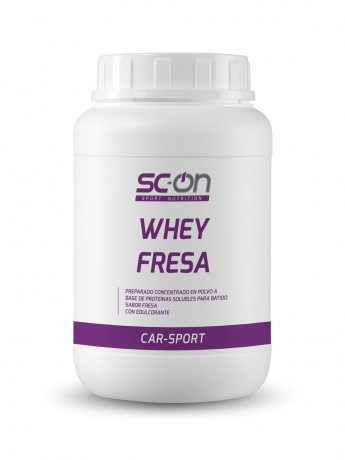 Preparado concentrado en polvo a base de proteínas solubles para batido con sabor fresa. Con edulcorante.