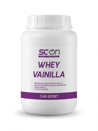 Preparado concentrado en polvo a base de proteínas solubles para batido con sabor vainilla. Con edulcorante.